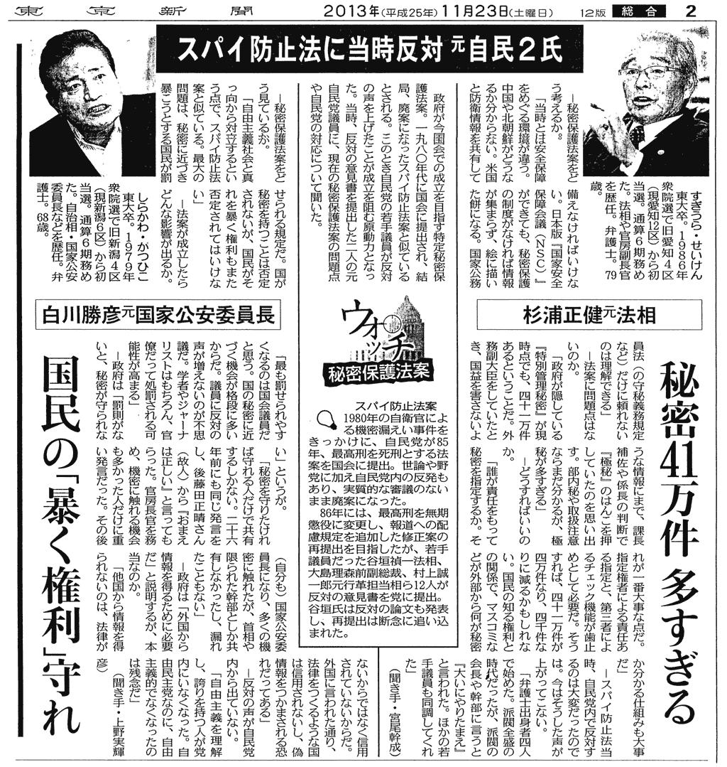 東京新聞紙面画像